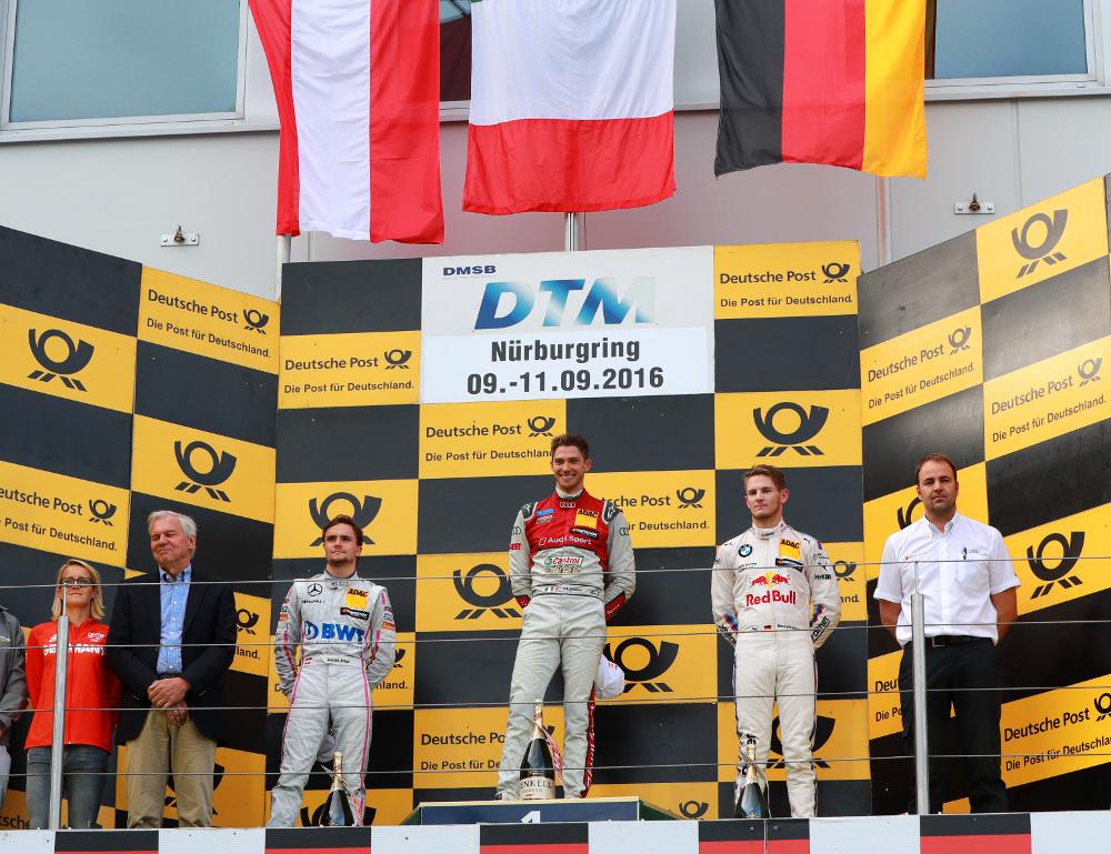 Motorsports: DTM race Nürburgring 2016, , #22 Lucas Auer (AUT, Mercedes-AMG DTM Team Mücke, Mercedes-AMG C 63 DTM), #48 Edoardo Mortara (ITA, Audi Sport Team Abt Sportsline, Audi RS5 DTM), #11 Marco Wittmann (GER, BMW Team RMG, BMW M4 DTM)