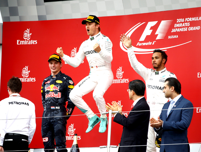 Formel 1 - MERCEDES AMG PETRONAS, Großer Preis von Japan 2016. Lewis Hamilton, Nico Rosberg ; Formula One - MERCEDES AMG PETRONAS, Japanese GP 2016. Lewis Hamilton, Nico Rosberg;