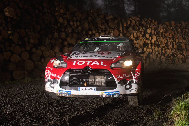 Kris Meeke (GBR) performs during FIA World Rally Championship in Deeside, Great Britain on 30  October 2016
