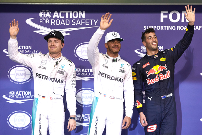 Formel 1 - MERCEDES AMG PETRONAS, Großer Preis von Abu Dhabi 2016. Lewis Hamilton, Nico Rosberg ; Formula One - MERCEDES AMG PETRONAS, Abu Dhabi GP 2016. Lewis Hamilton, Nico Rosberg;